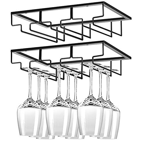 Wine Glass Holder Under Cabinet,2 Pack Wine Stemware Holder,Wine Glass Rack,3 Rows Black Metal Wine Glasses Hanger,Wine Glass Holder Storage Under Shelf,Wine Glass Rack for Kitchen Bar
