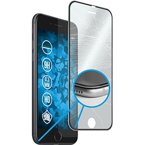 Preisvergleich Produktbild PhoneNatic 1 x Glas-Folie klar Full-Screen mit Metallrahmen in schwarz kompatibel mit Apple iPhone 8 Plus - Panzerglas für iPhone 8 Plus