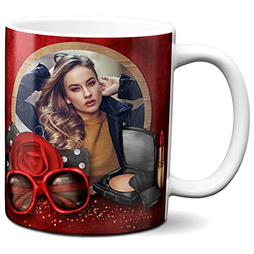 Spersonalizowany kubek ze zdjęciem - wykonany na zamówienie - spersonalizowany kubek - spersonalizowany kubek do kawy na zamówienie - motyw z czerwoną zasłoną - 325 ml ceramiczny kubek do herbaty