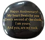 Anniversary Gift'Happy Anniversary! My heart Beats for you Every second of the clock. I am yours. And you, are my rock.' Engraved Rock, Anniversary gifts for men or women.