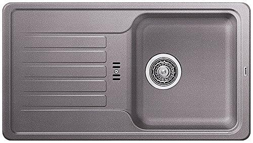 BLANCO Favos Mini Lavello da Cucina in Silgranito, Alumetallic, Reversibile/con valvola a cestello da 3 1/2' – Senza comandi di Alcool; 518184