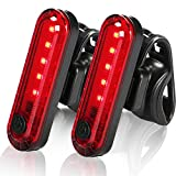 【2021 Upgraded Version】 LED Bike Tail Lights, USB Rechargeable Rear Bike Lights (2 Pack), Ultra Bright Bicycle Rear Cycling Safety Flashlight, Best Gift of Bike Accessories