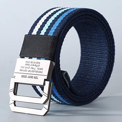 CLDADG belt Cldada Hombres Mujeres Lona cinturón Hebilla Doble Anillo Azul Raya...