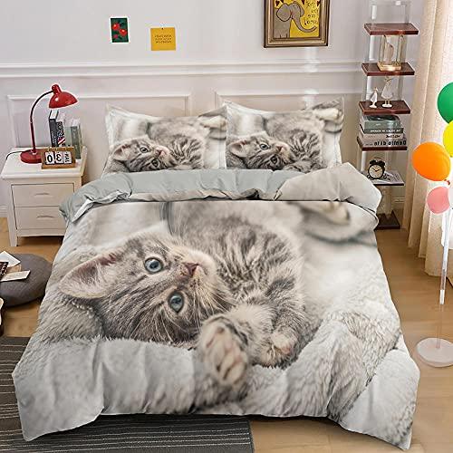 布団カバー セミダブル 動物猫, 寝具 洋式・和式兼用 オールシーズン - 1 掛け布団カバー 170x210 cm と 2 枕カバー 43x63 cm