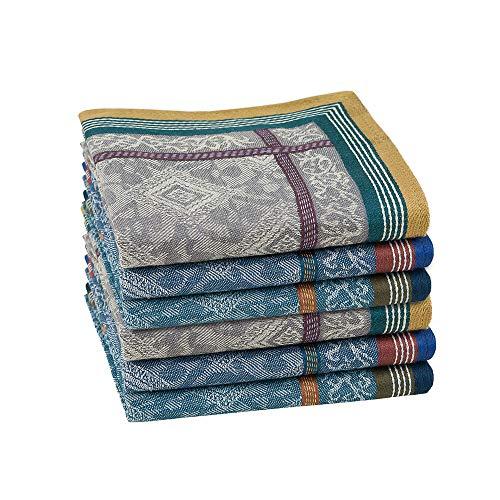 HOULIFE 3/6 Stücke Herren 100% Baumwolle Weich Stoff Taschentücher Einstecktuch mit Jacquard-Muster, 16.73x16.73''/42.5x42.5cm (Gemischt - 6 Stücke)