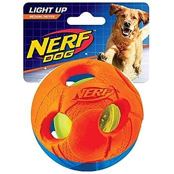 NERF Balle Foot LED pour Chien Orange/Bleu Taille M
