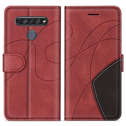SUMIXON Hülle für LG K61 / LG Q61, PU Leder Brieftasche Schutzhülle für LG K61 / LG Q61, Kratzfestes Handyhülle mit Kartenfächern & Standfunktion, Rot