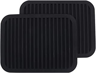 Black Silicone Trivets, Set of 2,Silicone Pot Holder/Trivet Mat/Silicone Drying Mat - Waterproof, Heat Insulation, Non-Slip, Spoon Rest, Tableware Pad, Jar Opener & Coasters (9x12INCH)