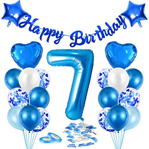 Luftballon 7. Geburtstag Blau, Deko 7. Geburtstag, Geburtstagsdeko 7 Jahr Junge, Riesen Folienballon Zahl 7, Happy Birthday Girlande Folienballon Zahl 7 für Kinder Junge