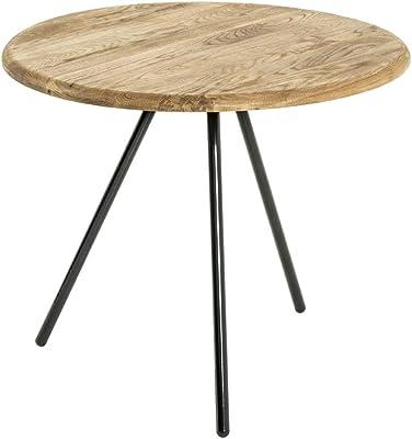 Haku Moebel Table d'appoint, Acier^Bois Massif, Noir-chêne, 50 x 43 cm
