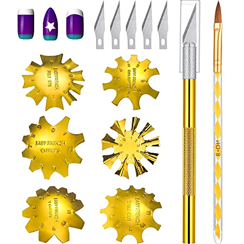 8 Pieces Acrylic Nails Tool Set, Include 6 Pieces French Nail Trimmer Stainless Steel French Tip...