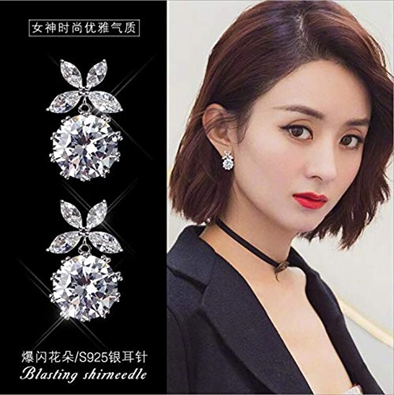 Korean Ladies Money S925 Sterling Silver Cz Earrings Earings Dangler Eardrop Pin Diamond Women Girls Woman Ear Jewelry Gift Ideas