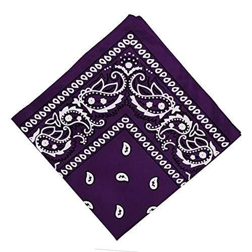 chiwanji Pañuelo 100% Algodón Paisley Cowboy Bandana Head Wrap Neck Wristband Pañuelo - Púrpura, unico