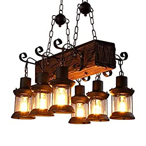 Farmhouse Lighting Industrial Rustic Wood Beam Linear Island Pendant Light Chandelier Lighting Hanging Ceiling Fixture 6-Light