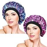 2 Pieces Soft Sleep Cap – Night Satin Bonnet with Wide Premium Elastic Band, Salon Bonnet Hair Loss Sleeping Caps for Women