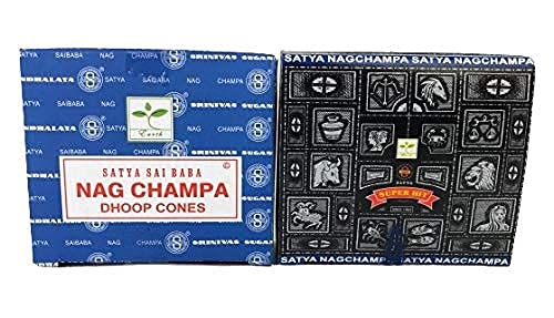Satya Conos de Incienso Aromáticos, 4 Cajas de 12 uds Cada una, 2X Incienso Super Hit y 2X Nag Champa, Gran Duración Aroma Delicado