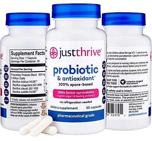 Just Thrive: Probiotic & Antioxidant - Vegan Proprietary Probiotic Blend - 30-Day Supply - 100-Percent Spore-Based Probiotic - 1000x Survivability - Supports Immune and Digestive Health - No Gluten