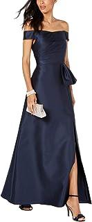 Adrianna Papell Womens Mikado Off-The-Shoulder Evening Dress Navy 6