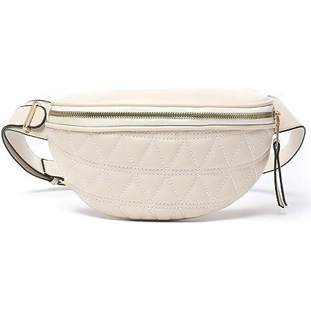 Geagodelia Bauchtasche Gürteltasche für Damen Mädchen Stylische PU Hüfttasche mit Verstellbarer Gurt für Reise Wandern Outdoor Festival FB18061 (Beige 02)