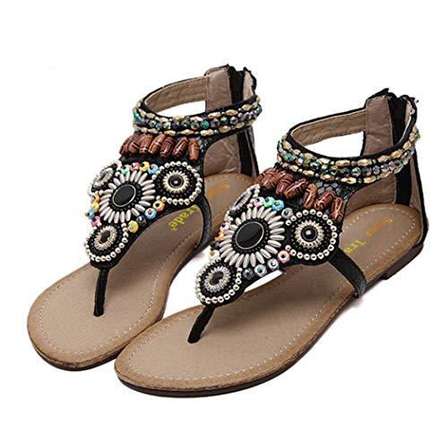 Sandali con Perline da Donna Bohemien Punta Aperta Scarpe da Spiaggia Roma Gladiatore Cinturino alla Caviglia Appartamenti Infradito Casual da Vento Nazionale