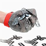 Inf-way 304L Brushed Stainless Steel Mesh Cut Resistant Chain Mail Gloves Kitchen Butcher Working Safety Glove - As Seen On TV 1pcs (Small)