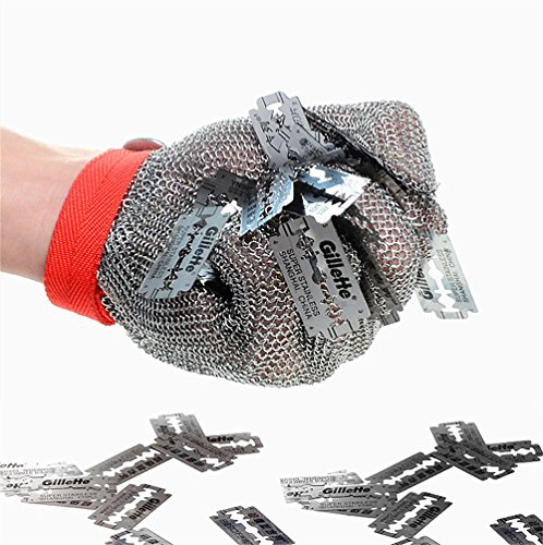 Inf-way 304L Brushed Stainless Steel Mesh Cut Resistant Chain Mail Gloves Kitchen Butcher Working Safety Glove - As Seen On TV 1pcs (XS)