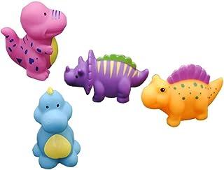 Zpong 4Pcs Baby Bath Toys Set Vinyl Cartoon Dinosaur Kids Cute Soft Animals Swimming Water Spraying Float Bathroom Shower ...