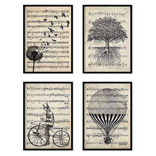 Nacnic Set de 4 láminas para enmarcar con partituras. Tamaño A4. Sin Marco