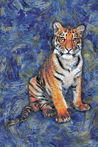 Tiger: Notebook Blank College-Ruled Lined in Van Gogh Starry Night Art Style (Student Animal Journals for Writing Journaling & Note-taking)