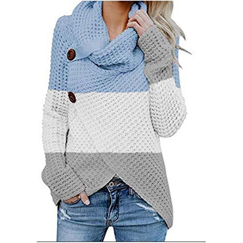 Vrouwen Button Sweater Met lange mouwen T-shirt dieptepunt shirt Onregelmatige ban kleur coltrui Knitwear Winter Hooded (Color : Blue, Size : XL)