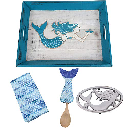 Mermaid Kitchen Accessories - Mermaid Decorative Tray, Mermaid Trivet, Dish Towel with Mermaid Tail Hot Pad and Wooden Spoon