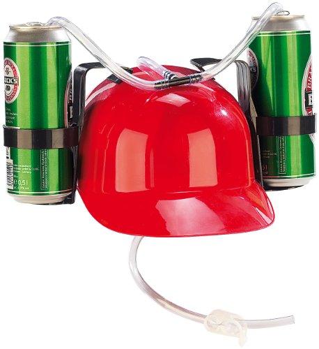 infactory Trinkhelm: Bierhelm mit 2 Dosenhaltern und Trinkschlauch (Trinkerhelm)