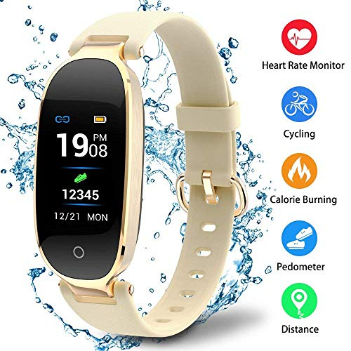 Mettime Smart Pulsera Bluetooth Fitness Rastreador K3Inteligente Reloj de frecuencia cardíaca supervisión Dormir Supervisión Información IP67Resistente al Agua Compatible con Android y iOS, Dorado