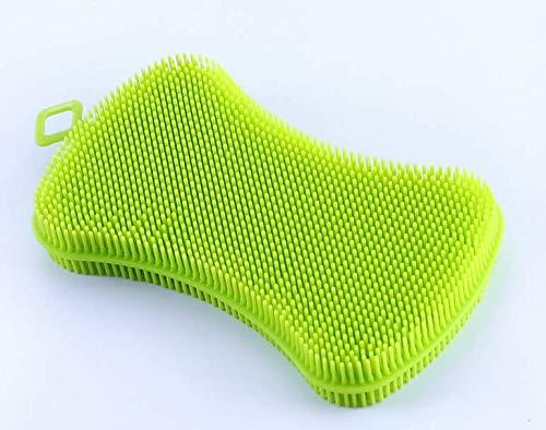Fendii Food Grade zeep-gevormde siliconen Multifunctionele Fruit en Plantaardige Reiniging Groene afwasborstel