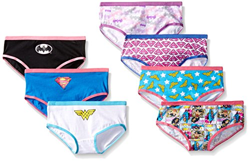 DC Comics Handcraft Little Girls'  Justice League Hipster  Underwear (Pack of 7), Assorted, 6