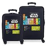 Star Wars Badges Juego de Maletas Azul 55/68 cms Rígida ABS Cierre de combinación Lateral 104 6 kgs 4 Ruedas Dobles Equipaje de Mano