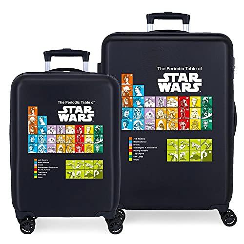 Star Wars Badges Juego de Maletas Azul 55/68 cms Rígida ABS Cierre de combinación Lateral 104 6 kgs 4 Ruedas...