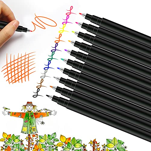 VITOLER Calligraphy Pens, Hand Lettering Pens, 10 Pack Color ink Technical Pens set, Brush tip...