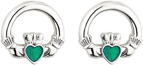 Claddagh Earrings Rhodium Plate & Enamel Made in Ireland