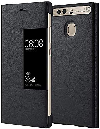 MOONCASE Klappetui Leder Tasche Schutzhülle Case Flip View Cover für Huawei P9 Schwarz