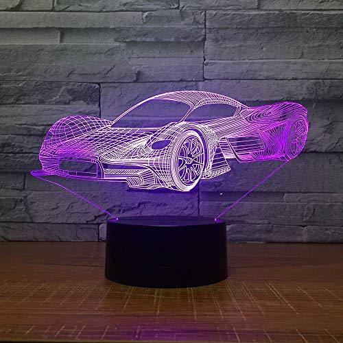 Luz De Ilusión 3D, Coche De Carreras De Siete Colores, Luz Para Dormir, Utilizada Para Decorar Regalos De Cumpleaños En El Dormitorio Y La Sala De Estar