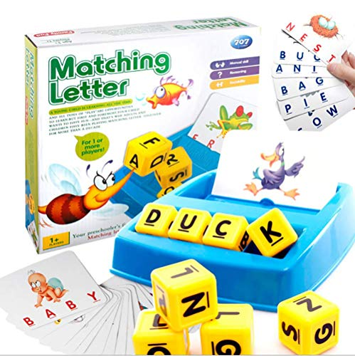 Sipobuy Alphabet Buchstaben Wort Übereinstimmung und Zauber Brettspiele für Kinder Toddle Vorschüler Pädagogisches und Lernspielzeug
