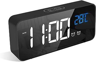 LATEC Reloj Despertador Digital, LED Pantalla Reloj Alarma Inteligente con Temperatura, Puerto de Carga USB, 12/24 Horas, 4 Brillo Ajustable, Función Snooze y Alarma de Espejo Portátil (Negro)