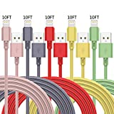MFi Certified iPhone Charger, (Color) 5 Pack 10 FT Lightning Charging Cables USB Data Cord High Speed Cable Compatible with iPhone 12 11 XS XR X Pro Max Mini 8 7 6S 6 Plus 5S SE iPad iPod AirPods