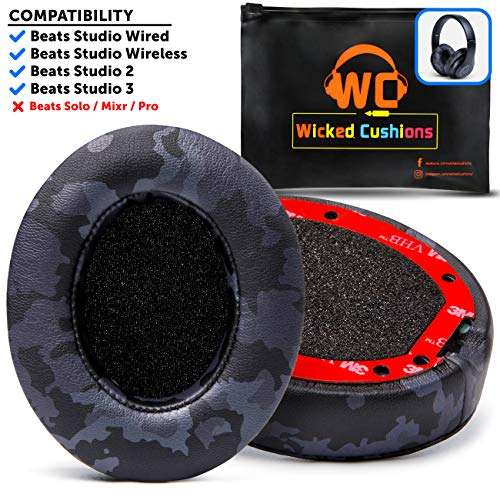 Upgraded Beats Replacement Ear Pads by Wicked Cushions - Compatible with Studio Wired B0500 / Wireless B0501 / Studio 2 and Studio 3 Over Ear Headphones ONLY (Does NOT FIT Beats Solo) | Black Camo