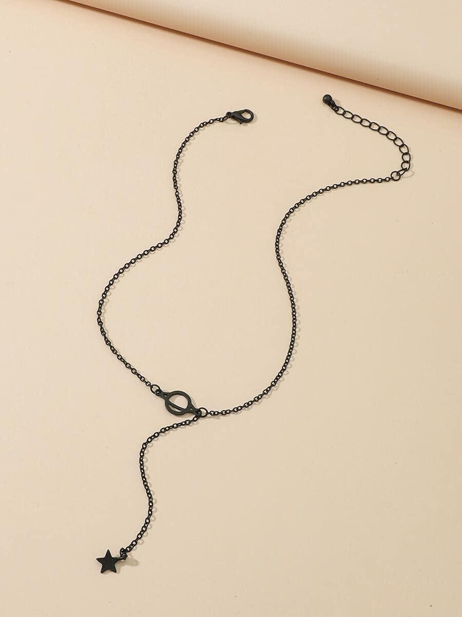 Necklace Pendant Star Pendant Y-Lariat Necklace (Color : Black)