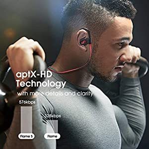 Mpow Flame S Bluetooth Headphones Sports, Pro version aptX-HD Bass+ Loud Sound, BT 5.0,12H Playtime, IPX7 Waterproof, CVC 8.0 Noise Cancelling Mic,W/Carrying Case, for iPhone/Android/windows etc.Red