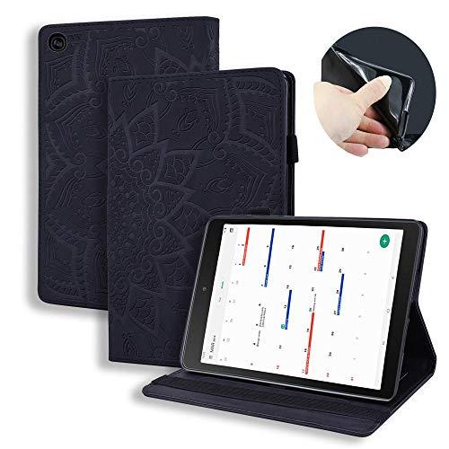 Bloemenpatroon Tablet Cover Samsung Tab A10.1 2019 SM-T510 T515 Case Flip Faux Lederen Kaart Clip Tablet Stand Beschermende Cover Zwart