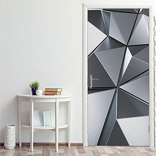 DFKJ Pegatinas de Puerta Escalera de Caracol de Madera Decorativa extraíble Porta Pegatina murales apartamento Dormitorio decoración de la habitación A13 77x200cm