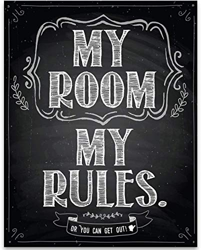 My Room My Rules - 11x14 Unframed Typography Art Print - Great Gift and Decor for Bedroom, Child's Room, Playroom and Teen's Room Under $15